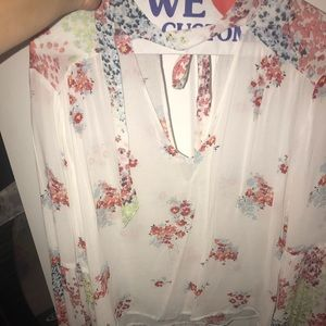 LUCKY BRAND Halter Top LG Boho Floral Shirt Blouse